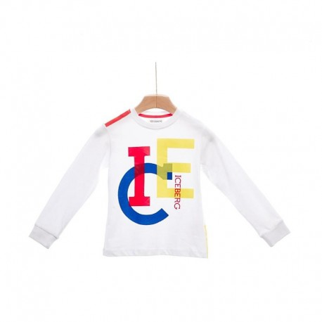 T-Shirt bambino manica lunga con logo ICEBERG art. TSICE110JM