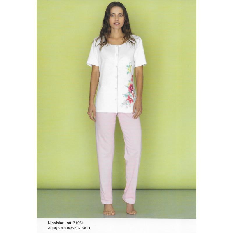 più foto a1ed9 cc090 Pigiama donna aperto con stampa floreale LINCLALOR art. 71061