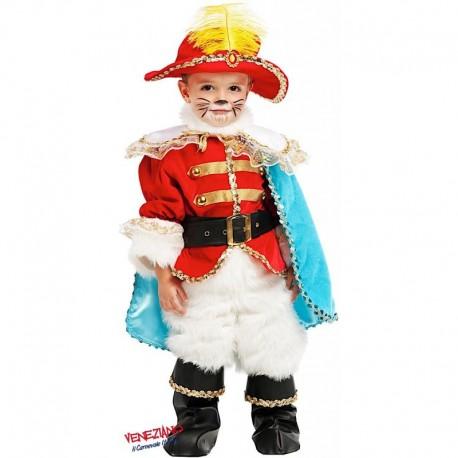 Costume di carnevale Piccolo gatto con gli stivali lusso CARNEVALE VENEZIANO art. 53222