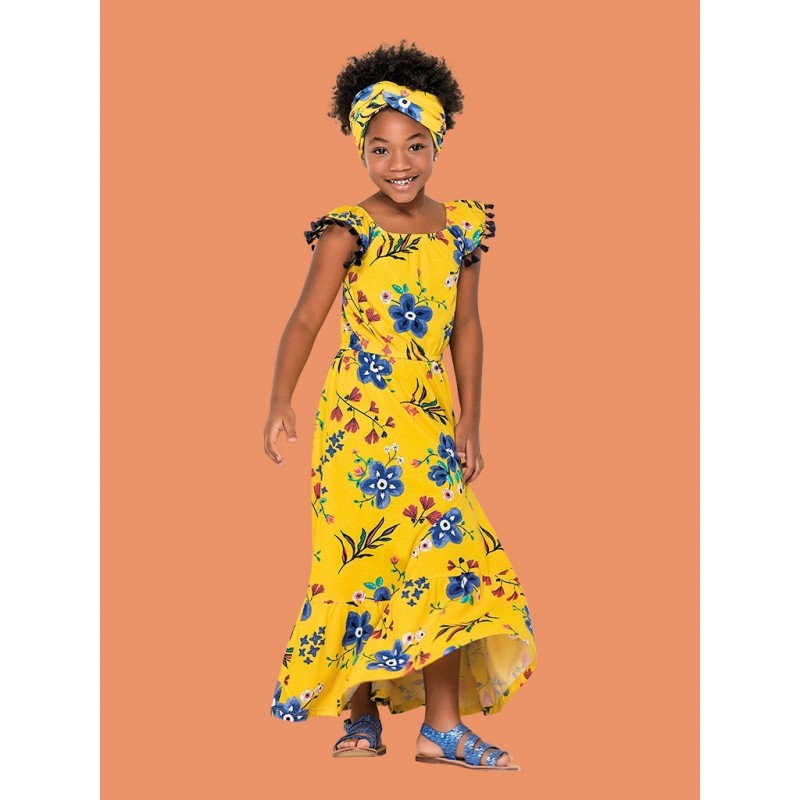 size 40 68cb2 f8122 Vestito estivo lungo bambina in cotone a fantasia floreale.
