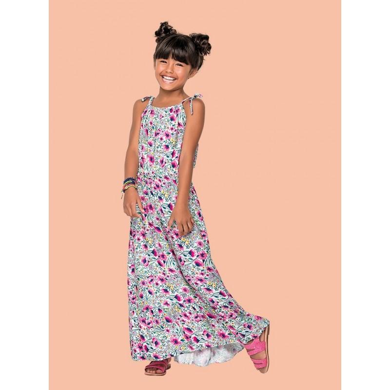 size 40 03c95 b43c9 Vestito estivo lungo bambina in cotone a fantasia floreale.