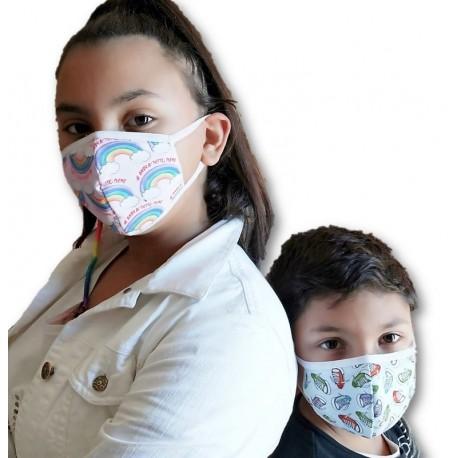 Conf. da 3 pezzi di mascherine copriviso bimbi doppio strato